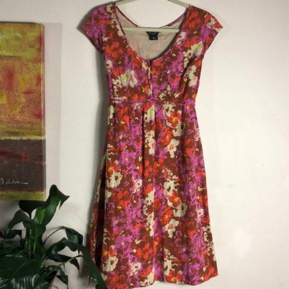 Eddie Bauer Dresses & Skirts - EDDIE BAUER artsy floral cap sleeve tie back scoop